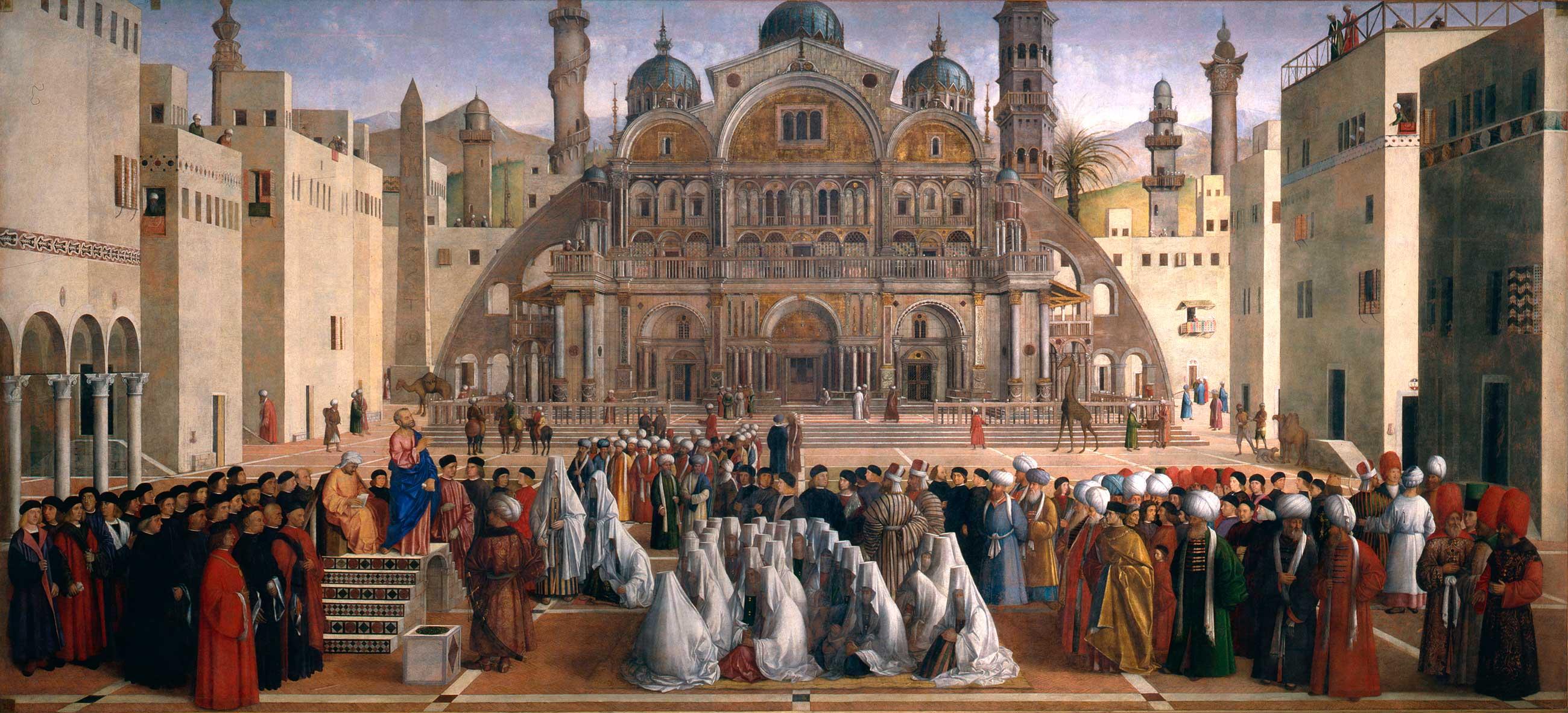 Gentile e Giovanni Bellini, Predica di san Marco ad Alessandria, 1504-1507. Public Domain, via Wikimedia Commons