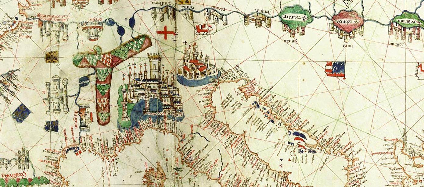 Albino de Canepa, Carta nautica, 1489 (detail). Public Domain, via Wikimedia Commons